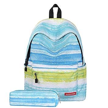 Azul Rayas Unisex Nylon Escuela Mochila para Niños Niñas Laptop Bolsa Deportes Viajar Mochila con Bolsa De Pluma: Amazon.es: Deportes y aire libre