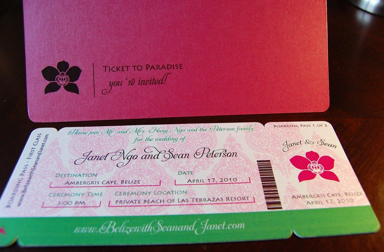 Amazon.com: Boarding Pass Invitations - Orchid: Handmade