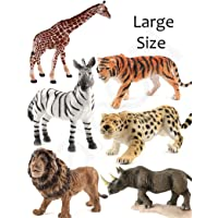 Rudra Cartoon Animal,Wild Animals Figures Set for Kids Educational Toy Learning Toy - Medium Size (Pack of 6 Wild Animals)