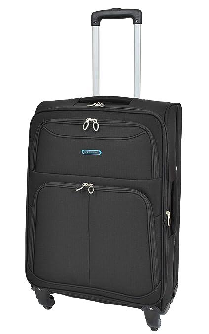 8c72cda24 Durable Lightweight Medium Size Suitcase 4 Wheel Luggage Soft Trolley  Travel Bag HLG105 (Black)