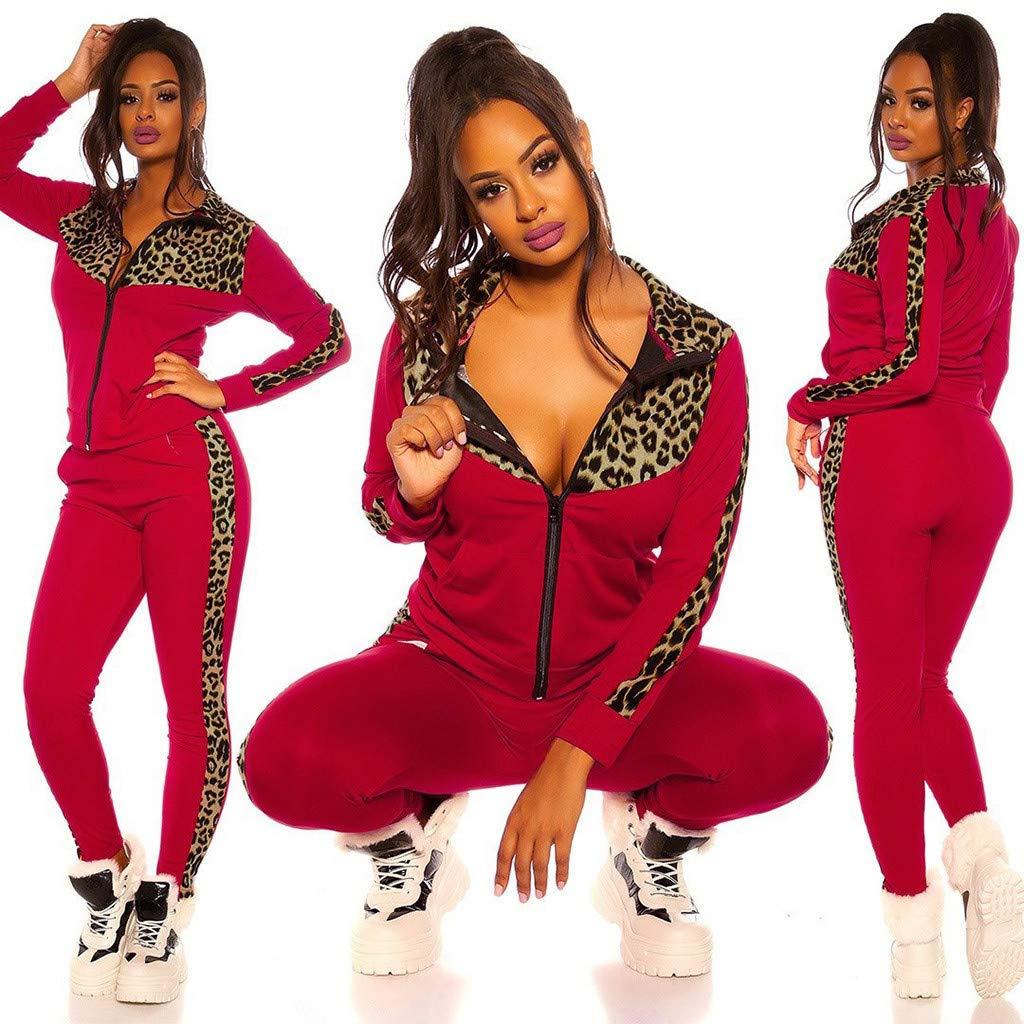 Mujer Conjunto de Chaqueta con Empalme de Leopardo Casuales Pantalones de Yoga Fitness Jogging Trajes de Ch/ándal para Deportivo y Aire Libre Fannyfuny