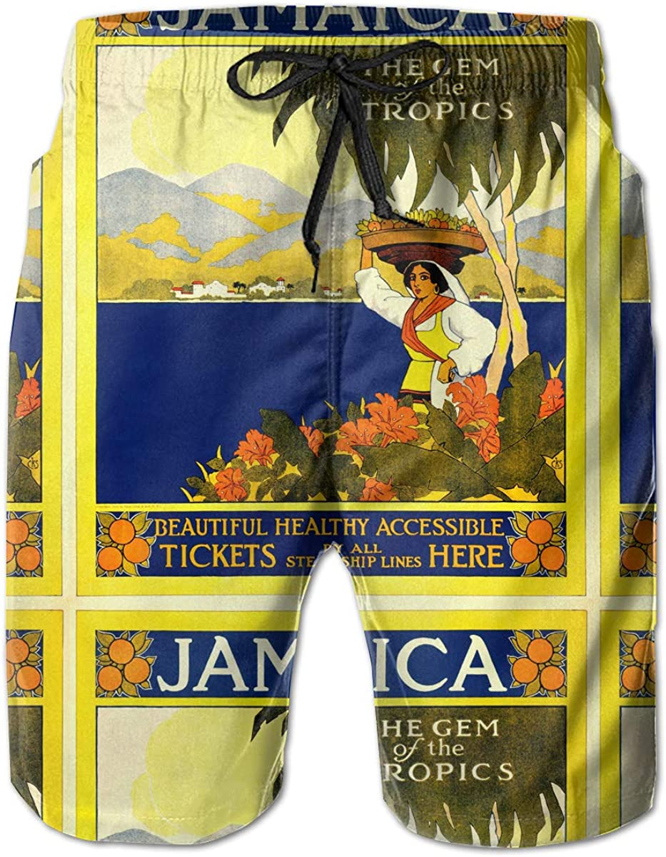 Vintage Jamaica Travel Poster Mens Casual Classic Fit Short Summer Beach Shorts