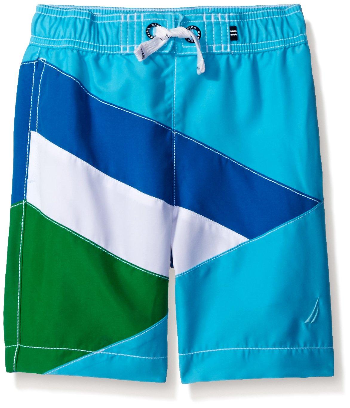 9810df0e9f Galleon - Nautica Little Boys' Swim Trunk With UPF 50+ Sun Protection,  Turquoise Colorblock, Large (7)