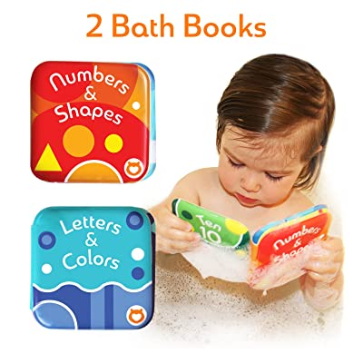 "Baby Bath Books, Pack of 2 by Baby Bibi. Alphabet & Numbers Books. Safe, Waterproof and BPA-free. 3.5"" x 3.5"": Toys & Games"