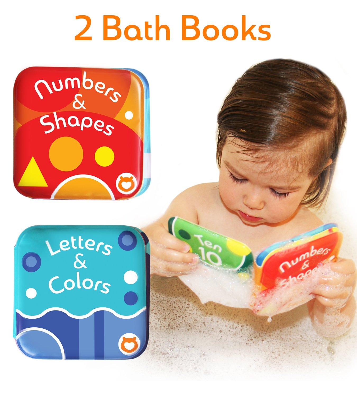 """Baby bibi Libri con Alfabeto e Numeri by Confezione da 2 Libri da Bagnetto per Bambini. Libri Impermeabili da Vasca per l'Infanzia 2-in-1 - 9 cm x 9cm (3.5""""x3.5"""") Boxiki"""