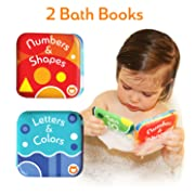 "Baby Bath Books, Pack of 2 by Baby Bibi. Alphabet & Numbers Books. Safe, Waterproof and BPA-free. 3.5"" x 3.5"""