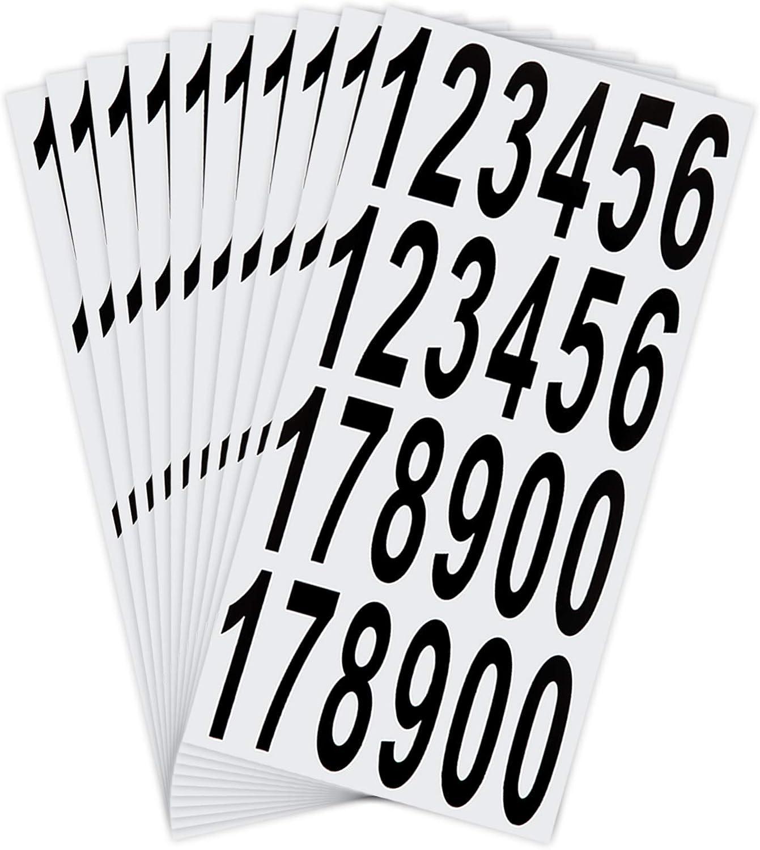 LUTER 10 Hojas para Buzón Números Pegatinas, Impermeables Pegatinas Adhesivas para Buzón, Casa, Puerta, Número de Dirección, Interior o Exterior (7,5 cm)