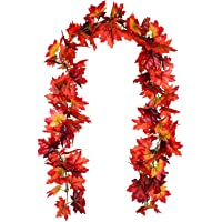 Lvydec 2 Pack Fall Maple Garland - 6ft/Piece Artificial Fall Foliage Garland Colorful Autumn Decor for Home Party…