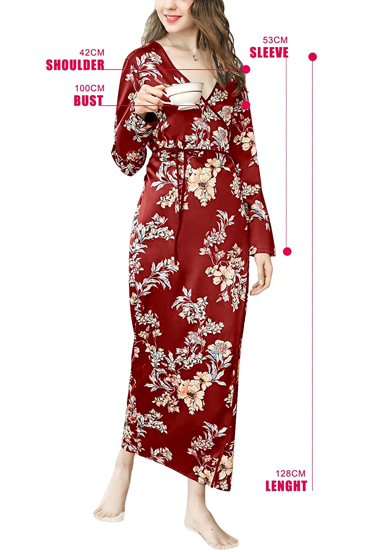 Dolamen Mujer Vestido Kimono Satén, Camisón para Mujer, Flores Florales Robe Albornoz Dama de Honor Ropa de Dormir Pijama, Largo 2018 Busto 100 cm (Busto ...