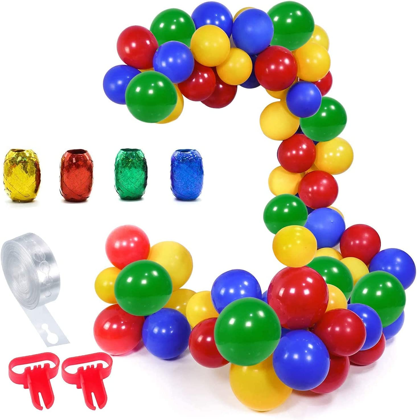 100PCS Balloon Arch Garland Kit for Boys Men, YANSION Red Blue Green Yellow Party Decorations with 16ft Latex Balloon Strip Tape, 2pcs Tying Tool for Birthday Graduations Engagements Themed Home Decor