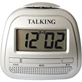 Kwanwa Small Portable Talking Alarm Clock With Big Time Display And Loud Talking Voice.Classtic silver Colour