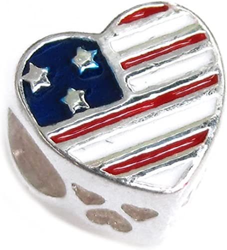Sterling Silver Military Wife Heart Flag Enamel Bead for European Charm Bracelet