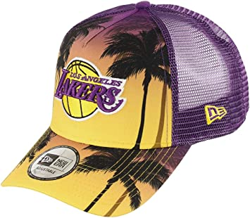 New Era Los Angeles Lakers Frame Adjustable Trucker Cap NBA Palm ...