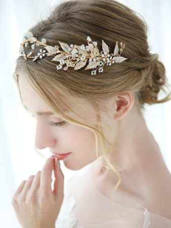 Amazon.com   Aegenacess Gold Wedding Headband Leaf Flower Hair Vine Opal  Rhinestones Crystal Accessories for Brides and Bridesmaids - Bridal Vintage  Halo ... 5d2557d3792