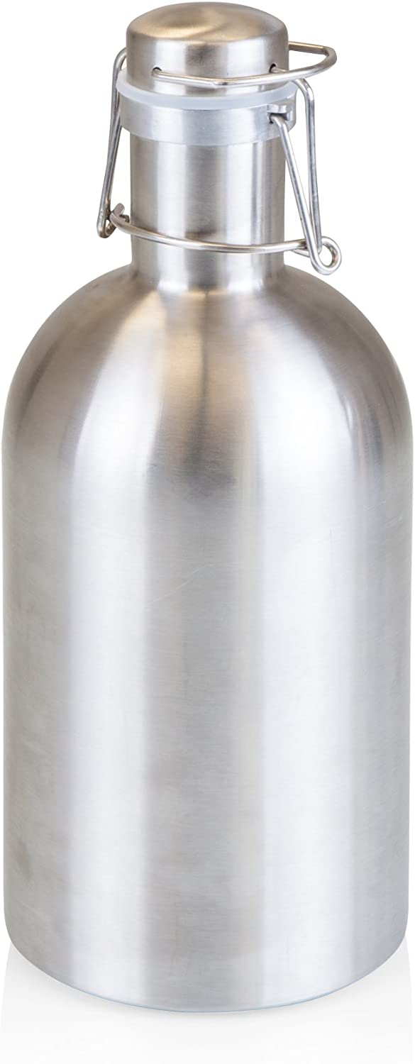 Stainless Steel 64-Ounce Beer Growler by LEGACY - a Picnic Time Brand, Silver Finish