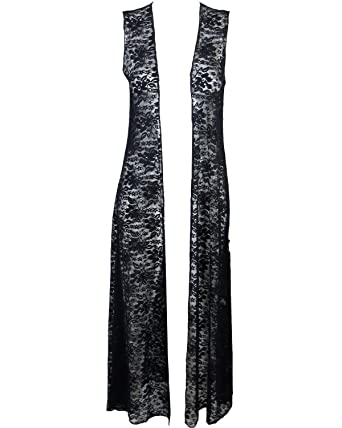 Womens Long Lace maxi Cardigan Ladies sleeveless longline Cardi ...