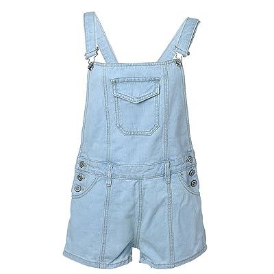 Anna-Kaci S/M Fit Blue Denim Low Back Short Front Flap Pocket Overalls: Clothing