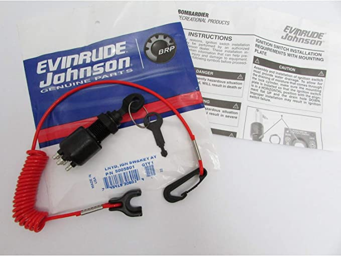 Amazon.com: Evinrude/Johnson/BRP New OEM Ignition Key Switch & Safety  Lanyard 5005801: Sports & OutdoorsAmazon.com