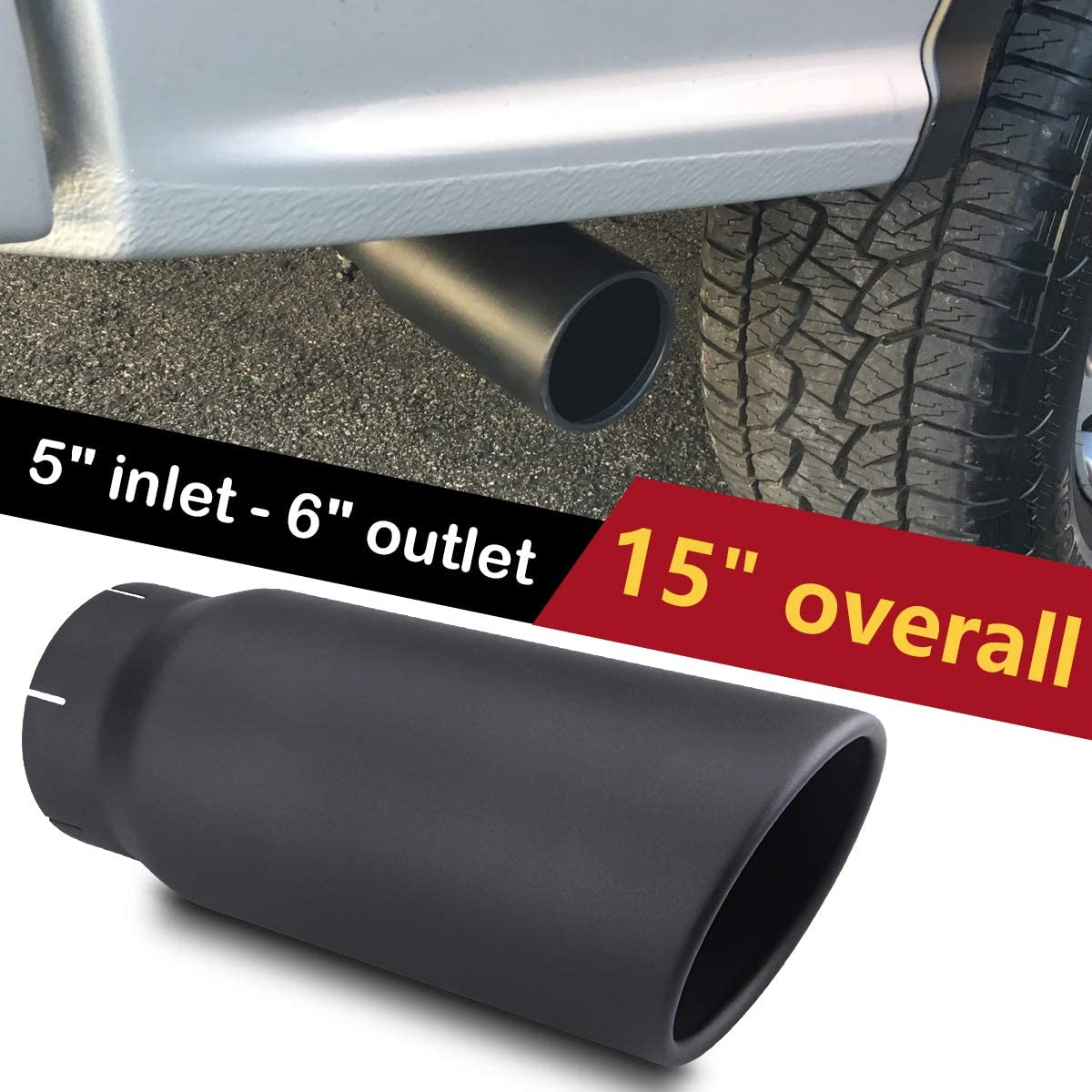 LCGP 5 Inlet x 6 Outlet x 15 Overall Length Clamp On Stainless Steel Universal Polished Diesel Exhaust Tailpipe Tip 5 Inch Inlet Exhaust Tip