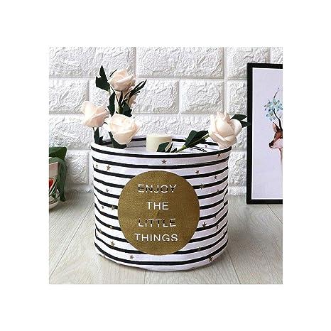 Amazon.com: Cesta de lino de algodón para escritorio, ideal ...