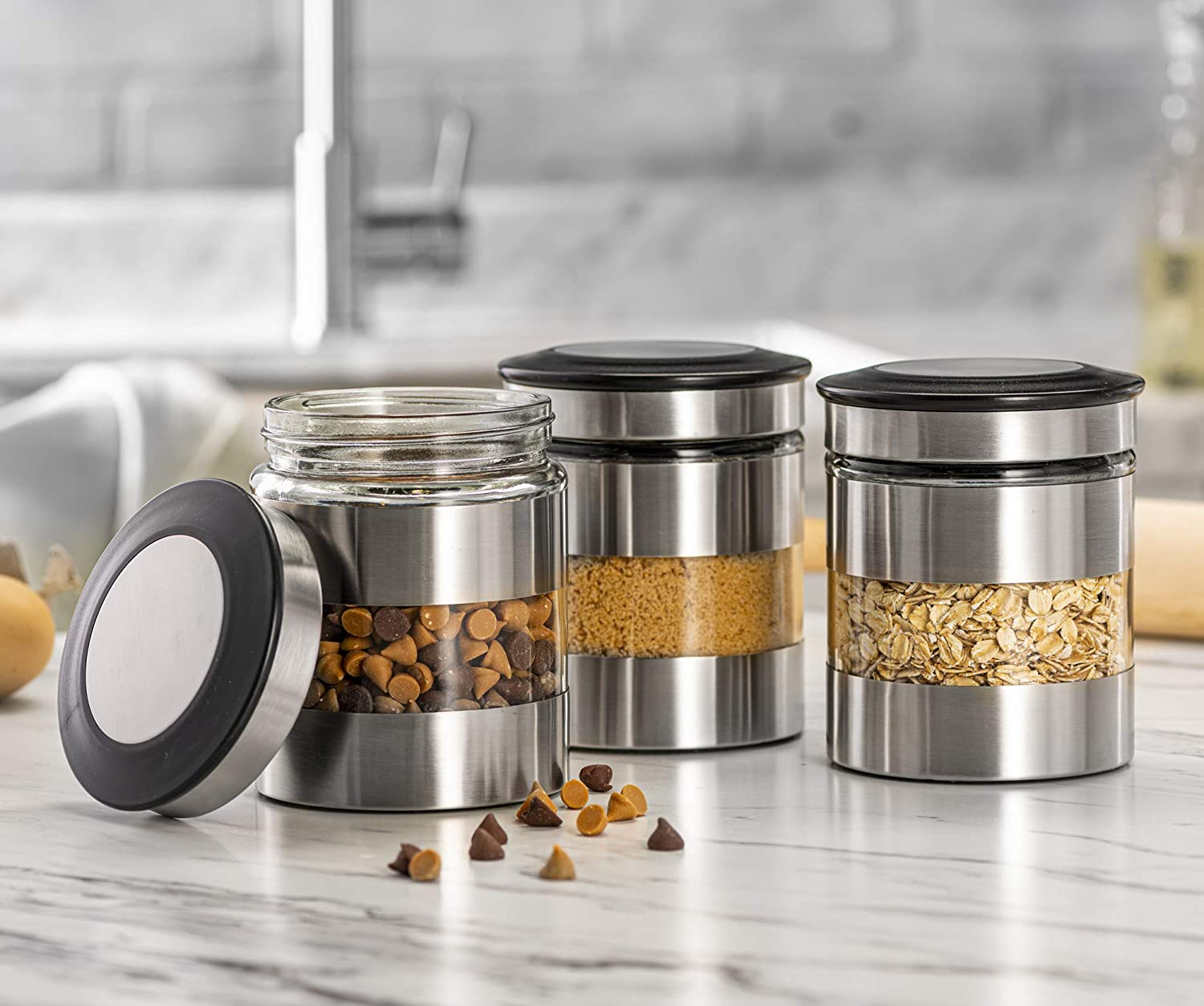 Le'raze Airtight Food Storage Container for Kitchen Counter with Window, [Set of 3] Canister Set Ideal for Flour Tea, Sugar, Coffee, Candy, Cookie Jar