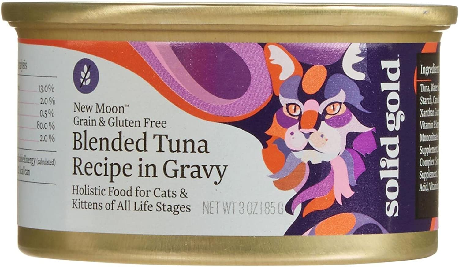 Solid Gold New Moon Holistic Wet Cat Food, Blended Tuna Recipe In Gravy, 3 Oz Can, 12 Count