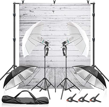 Julius Studio Wood Floor Backdrop with Umbrella Lighting Kit, 600W 5600K, 10 ft. Background Support Stand System, White & Black Umbrella Reflector, Clamps, Carry Bag