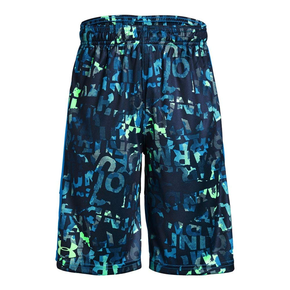 Under Armour Boys' Instinct Printed Shorts,  Academy (408)/Green Typhoon  Youth X-Small
