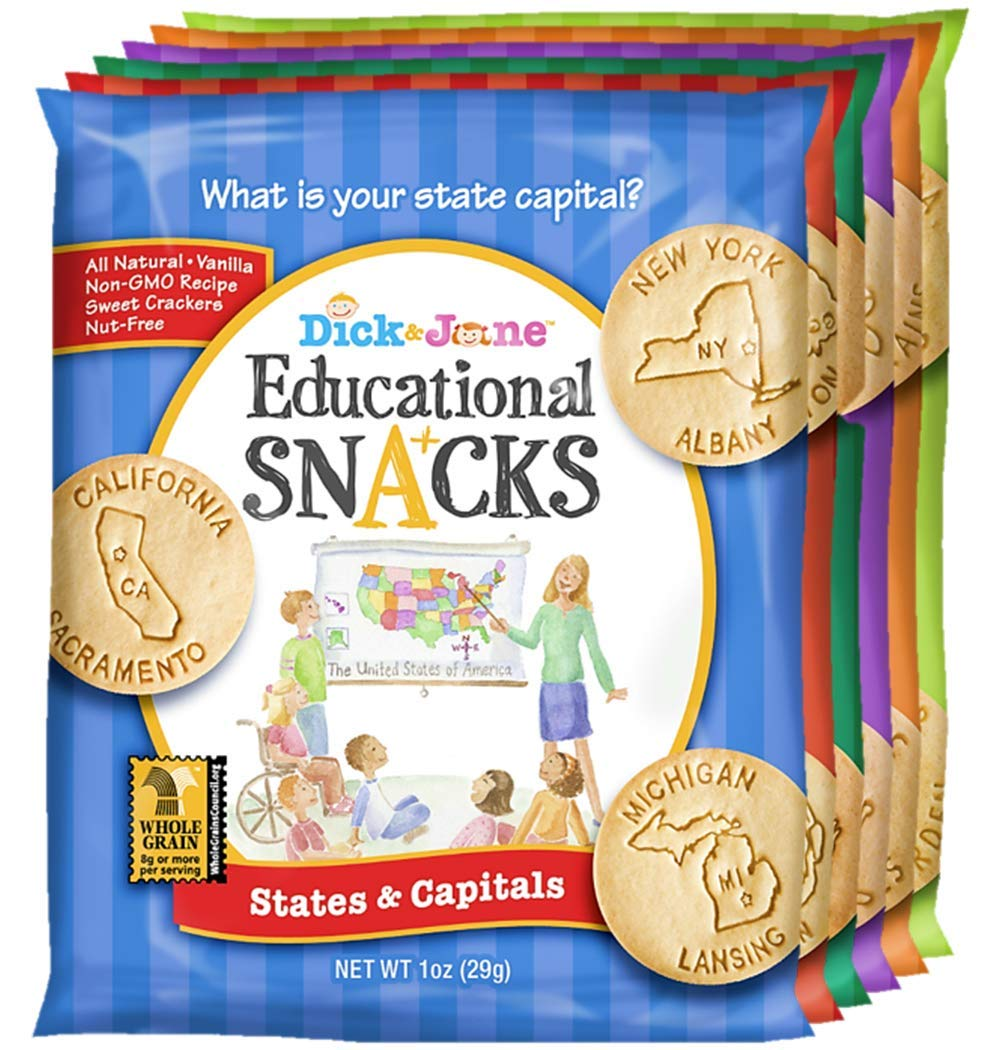 Educational Snacks I Variety Pack I (30) 1oz Bags   Sweet Vanilla Crackers – NUT FREE & NON GMO   Delicious, All-Natural & Loaded with Learning   FUN, HEALTHY SNACKS FOR KIDS