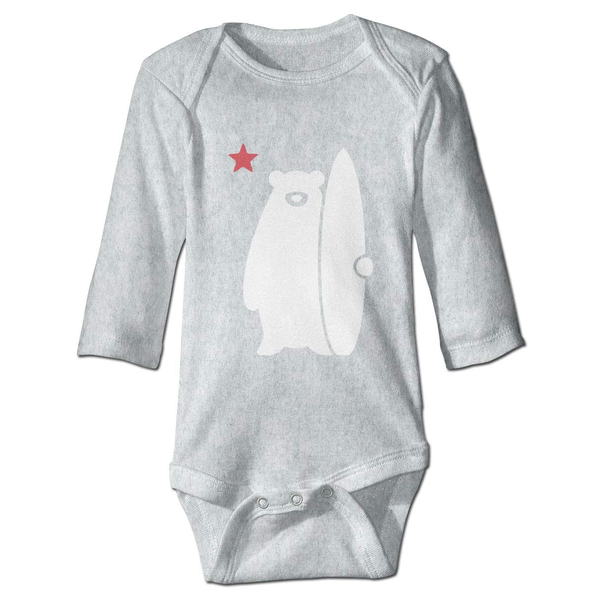 MMHOME Unisex Cotton Long Sleeve California Surf Bear Baby Rompers for 6-24 Month Baby Gray