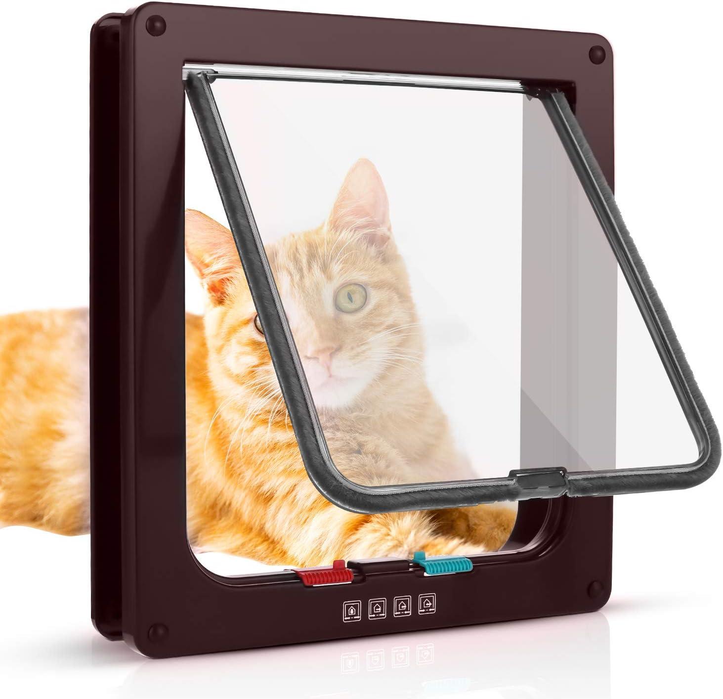 Sailnovo Puerta para Gato con Cierre magnético de 4 vías, Puerta para Mascotas para Gatos y Perros pequeños, Puerta para Gatos con túnel M, Marrón 16 x 15.7 x 5.5 cm