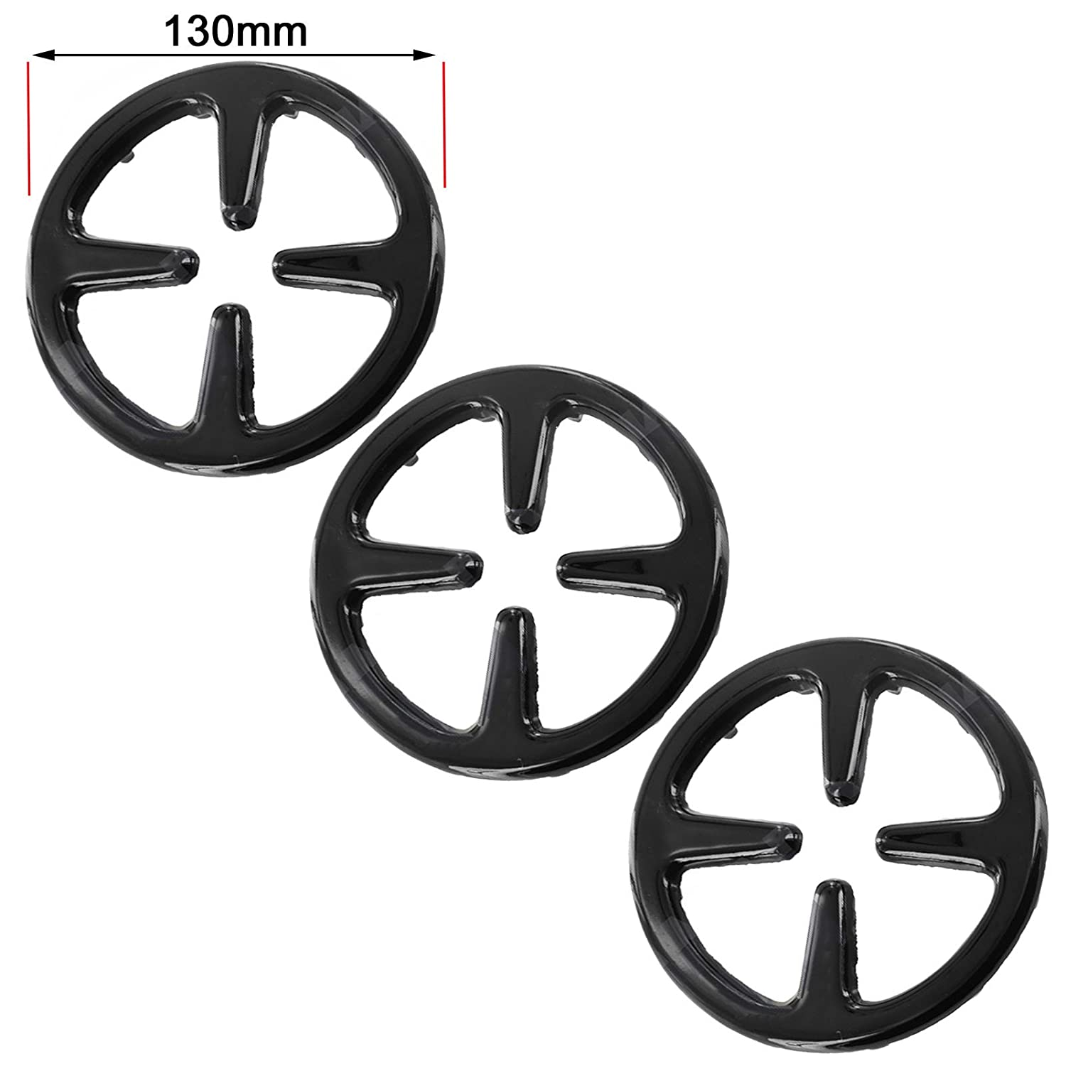 SPARES2GO Gas Cooker Hob Stove Reducer Coffee Moka Trivet Pan Stands (Small - 130mm, Pack of 3)