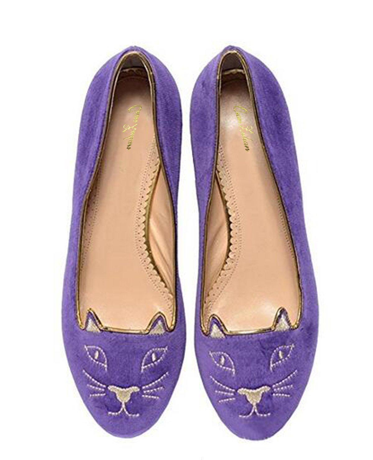QianZuLian Womens Flats Cat Shape Pumps Round head Slip On Dress Shoes Comfort for Home Leisure On foot B0757QC7VR 9.5 B(M) US|Purple