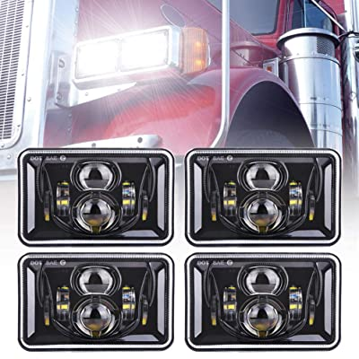 Z-OFFROAD 4pcs 60W Rectangular 4x6 Led Headlights Dot Approved H4656 H4651 H4652 H4666 H6545 Headlight Replacement for Freightliner Peterbilt Kenworth Chevrolet Oldsmobile Cutlass Trucks - Black: Automotive
