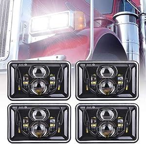 Z-OFFROAD 4pcs 60W Rectangular 4x6 Led Headlights Dot Approved H4656 H4651 H4652 H4666 H6545 Headlight Replacement for Freightliner Peterbilt Kenworth Chevrolet Oldsmobile Cutlass Trucks - Black