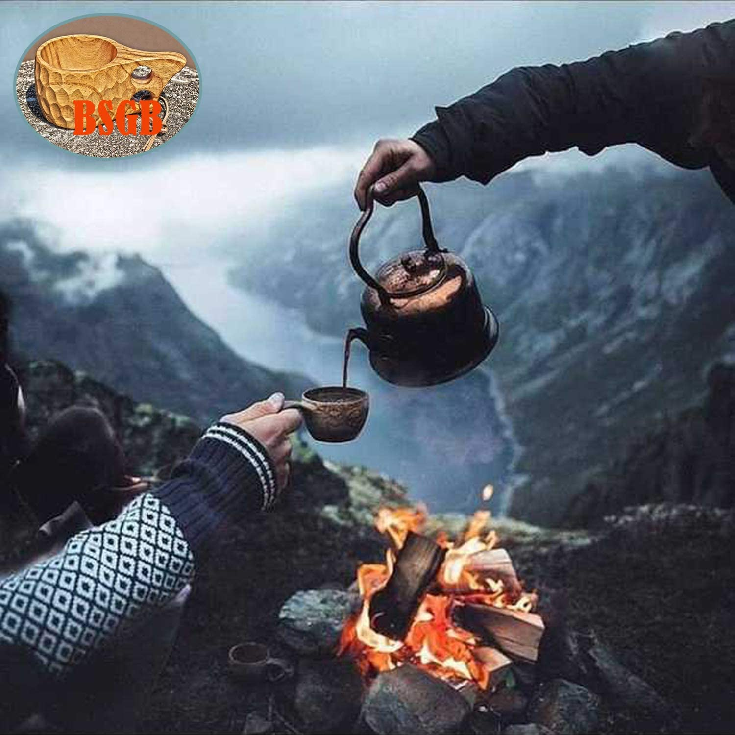 BSGB Wooden Cup Nordic Style Kuksa Portable Outdoor Camping Drinking Cup Traditional Coffee Mug with Leather Lanyard for Backpacking Camping Hiking Survival Teacup