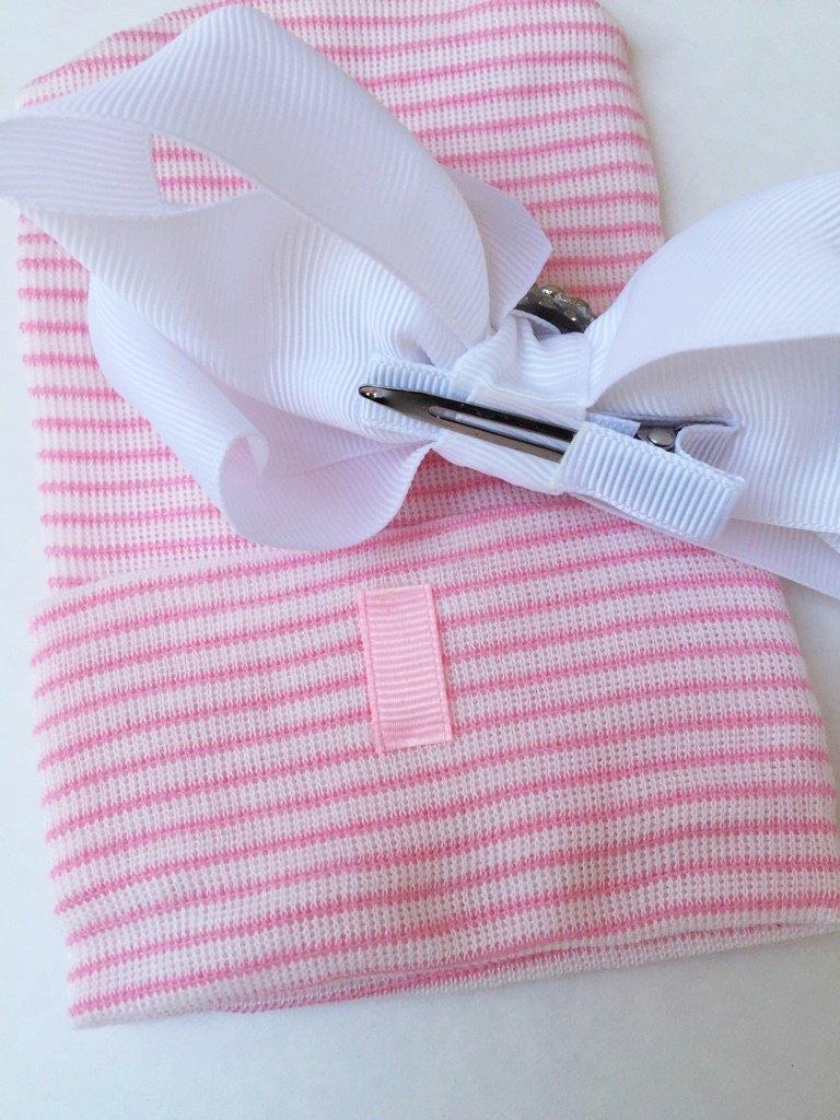 Newborn Hat for Girls, Newborn Hair Bow, Personalized Hair Bow, Monogrammed Hair Bow, Newborn photo prop for girls, Keepsake baby shower gift, Pink and White Hair Bow