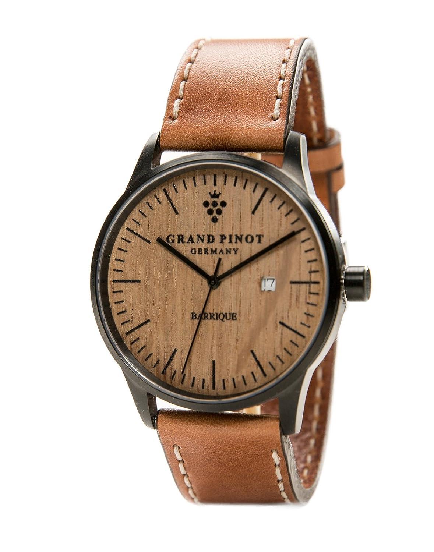 Grand Pinot Herren-Armbanduhr CHARACTER (42 mm) Schwarz-Barriquefass mit hellbraunem Lederarmband (Barriqueuhr f