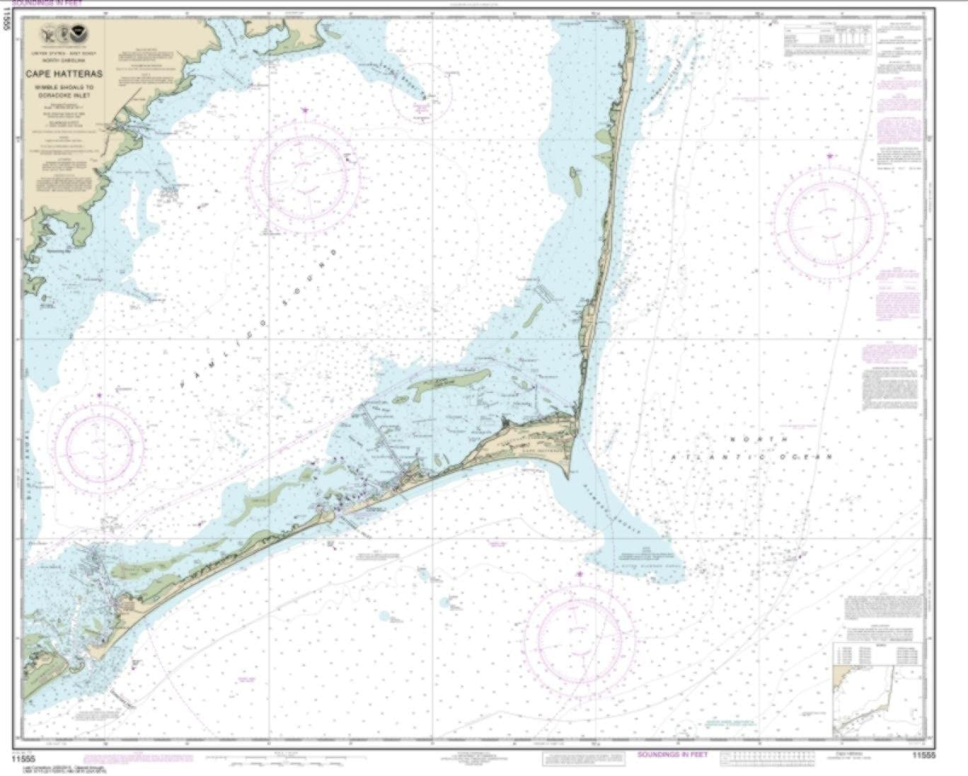 NOAA Chart 11555-Cape Hatteras-Wimble Shoals to Ocracoke Inlet by East View Geospatial