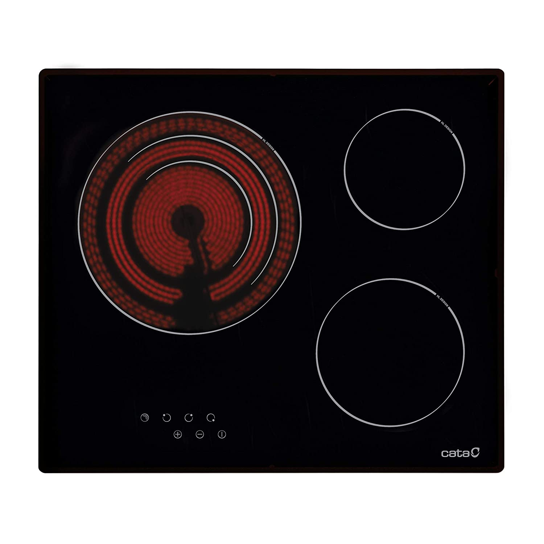 CATA Placa Vitrocerámica TT 603 | con 3 Zonas De Cocción, 2700 W, Cerámica, Negro