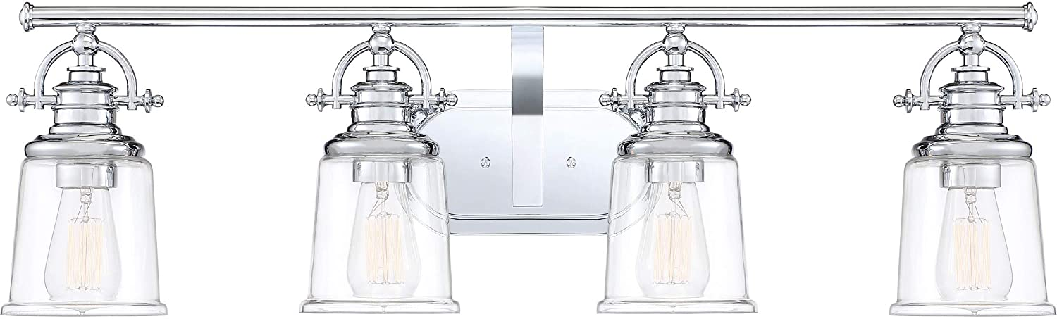 Quoizel GRT8604C Grant Vanity Bath Lighting, 4-Light, 400 Watts, Polished Chrome 10 H x 32 W
