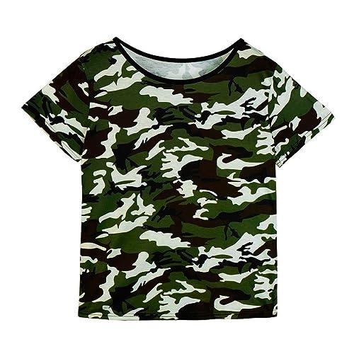 Blusa, Oyedens Las mujeres de la manera ponen en cortocircuito la camiseta ocasional del camuflaje d...