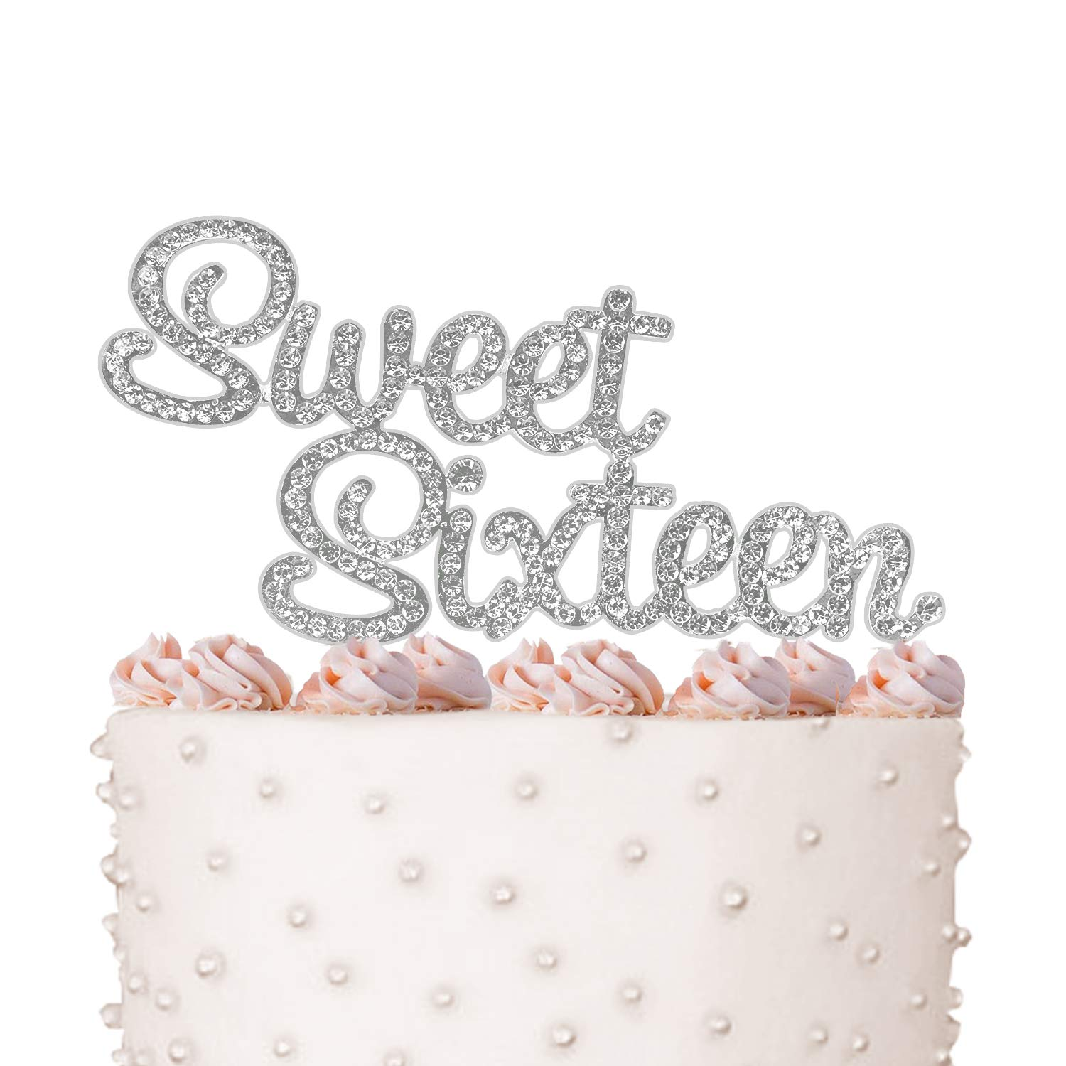 Sweet Sixteen, Birthday Cake Topper, Crystal Rhinestones on Silver Metal, Party Decorations, Favors