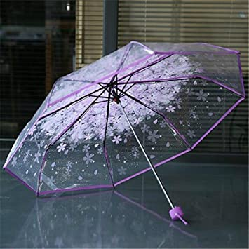 Zunmin Cherry Blossom Transparent Umbrella Rain Women Girl 3 Folding Sakura Flower Umbrella Female Rain Tools