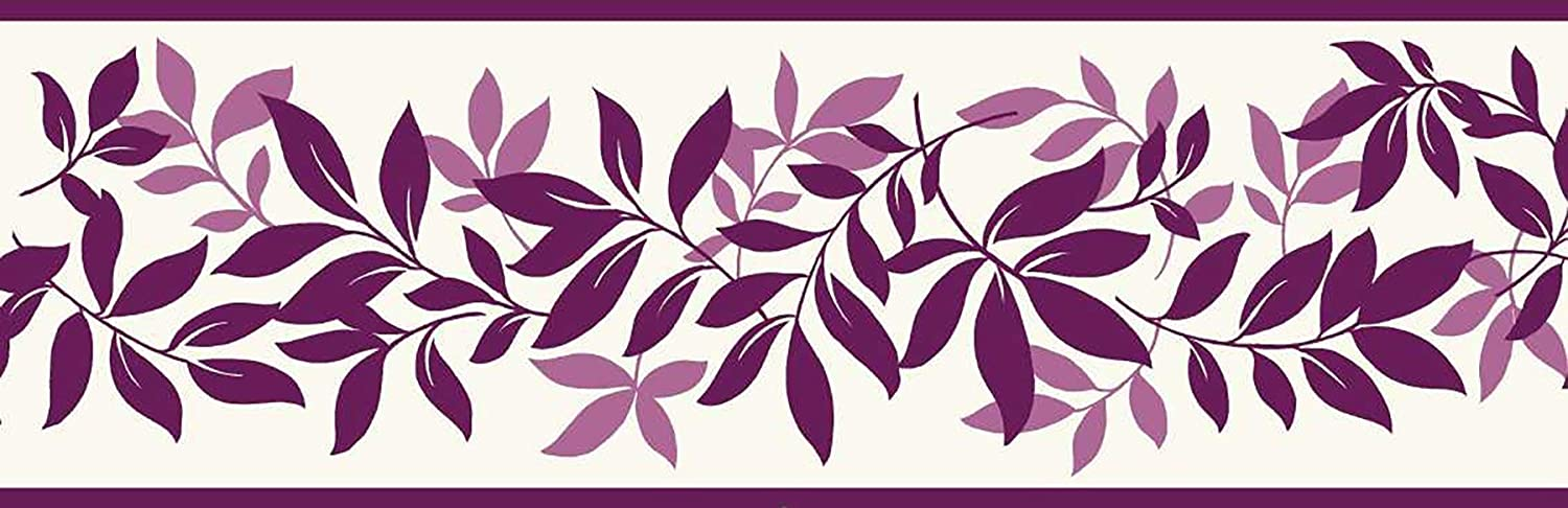 Fine Decor 125 mm Leaf Trail Border, Plum FDB07507S