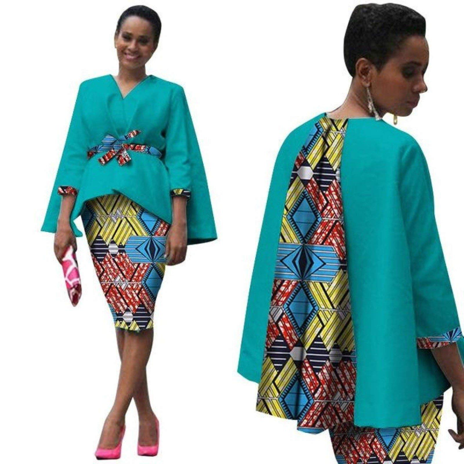 African Clothing 2Pc Set Dress Suit for Women Tops Jacket+ Print Skirt X151283