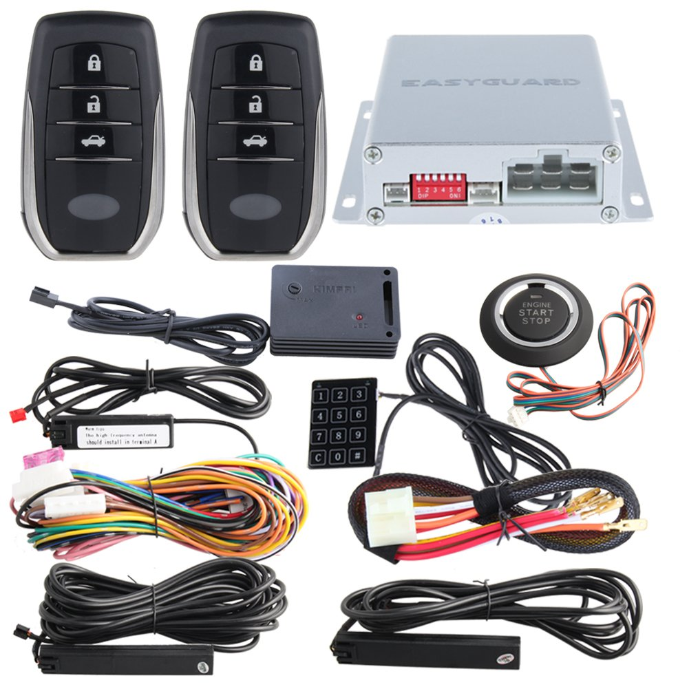 EASYGUARD EC002-T2-NS PKE Car alarm system with proximity sensor lock unlock remote engine start push start button touch password entry backup vibration alarm DC12V