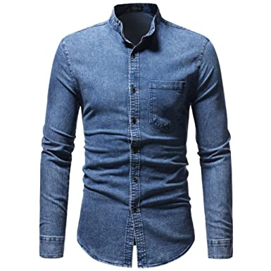Hffan Herren Hemd Retro Mode Washed Denim Langarm Hemd Fur Anzug