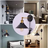 Kingmi Wall Lamp Dimmable Wall Sconce Plug in Black