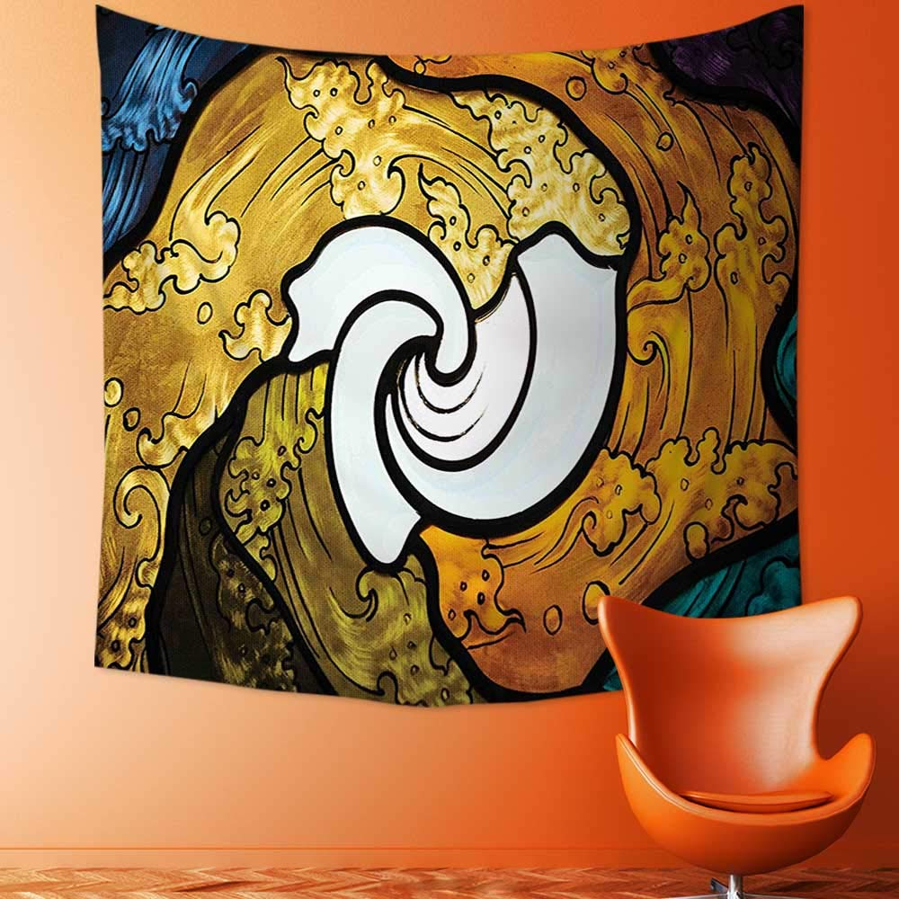 Wall Tapestry Home Decor Pop Art Style Funky Unusual Stained Glass Window Thai Art Pattern Traditional Image Tapestries for dorms